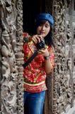 Thai women shooting photo at Shwenandaw Monastery Royalty Free Stock Image