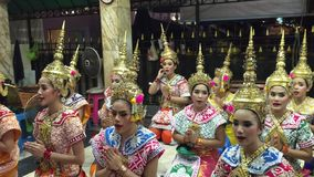 Thai women show Thai Folk Dance stock footage