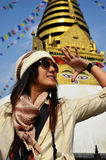 Thai women in Swayambhunath Temple or Monkey Temple Royalty Free Stock Photos