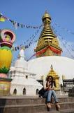 Thai women in Swayambhunath Temple or Monkey Temple royalty free stock image