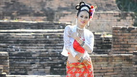 Thai women in traditional dancing of thailand stock footage