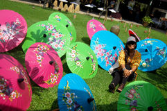 Thai women travel and portrait with Handmade Art Umbrella at Bo- Royalty Free Stock Photo