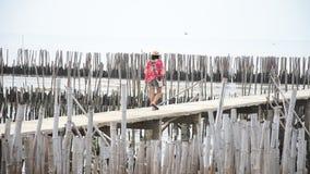 Thai women walking alone on the walkway bridge in Mangrove forest stock video footage