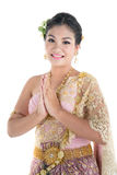 Thai women welcome with traditional Thai suit royalty free stock images