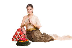 Thai women welcome with traditional Thai suit Stock Image