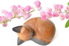 Free Thai Wooden Cat And Mexican Creeper Flower Stock Photo - 74760340