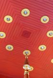 Thai wooden ceiling in pagoda Royalty Free Stock Images