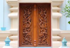 Thai wooden craft panel. Royalty Free Stock Image