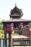 Thai Wooden House in the river.  Royalty Free Stock Images
