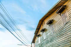 Thai wooden hut in the old style Stock Photo
