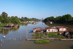 Thai wooden hut on river Stock Images
