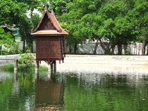 Thai wooden pavilion vernacular monastery Royalty Free Stock Images