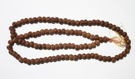 Thai wooden rosary isolated on white background Stock Image