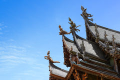 Thai Wooden Temple in Pattaya. Wooden Temple in Pattaya, eastern of Thailand. The official name of this building is The Sanctuary of Truth Royalty Free Stock Images