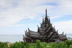 Thai Wooden Temple in Pattaya. Wooden Temple in Pattaya, eastern of Thailand. The official name of this building is The Sanctuary of Truth Stock Photography