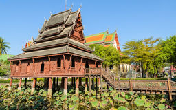 Thai wooden temple Royalty Free Stock Photos