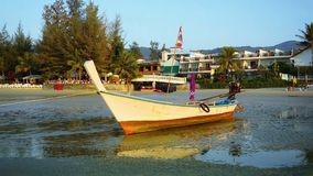 Thai wooden traditional boat. Thailand, Kamala beach Royalty Free Stock Photos
