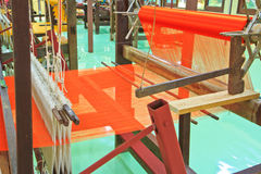 Thai woven silk machine Royalty Free Stock Photos