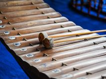 Thai xylophone. Made of wood with Thai letters showing musical notes Royalty Free Stock Photos