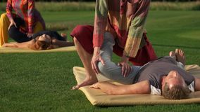 Thai yoga therapy training. stock video footage