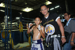 Thai young boxer and his mentor Royalty Free Stock Photography