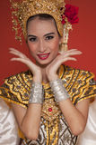 Thai young lady in an ancient Thailand dance Royalty Free Stock Photos