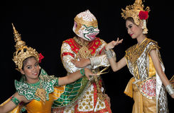 Thai young lady in an ancient Thailand dance Royalty Free Stock Photography