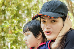 Thai young mother and son Royalty Free Stock Images