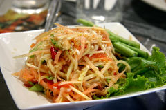 Thai young papaya salad Stock Photography