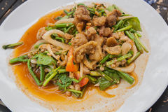 Thai yum salad hot and spicy with crackling and thai vegetables. Stock Images