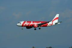 Thaiairasia landing. HS-ABH Airbus a320-200 of Thaiairasia landing to Chiangmai airport, flight from bangkok Suvarnabhumi airport Stock Images
