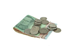 Thaibaht banknotes and coins money Royalty Free Stock Image