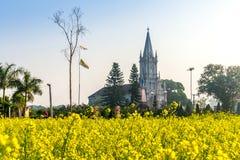THAIBINH, VIETNAM - 31 dicembre 2014 - una chiesa cattolica dentro un giardino di Wintercress Immagine Stock