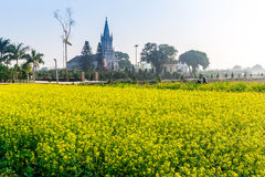 THAIBINH, VIETNAM - 31 dicembre 2014 - una chiesa cattolica dentro un giardino di Wintercress Fotografie Stock