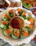 thaifood βρασμένος στον ατμό ρόλος άνοιξη Στοκ Εικόνες
