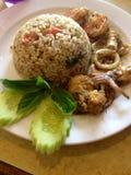 Thaifood, морепродукты карри зеленого цвета риса frird Стоковое Изображение