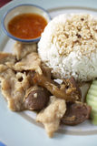 Thaifood from beef and rice. Beef soup on rice and spicy dip Royalty Free Stock Photo