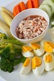 Thaifood, de Kruidige Onderdompeling van Garnalen Stock Foto