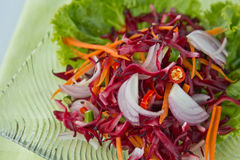 Thaifood, Flowers salad. Modern thai food, Sour and spicy flowers salad  (Roselle Salad Royalty Free Stock Photos