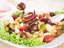 Thaifood frito de los chiles del anacardo Foto de archivo