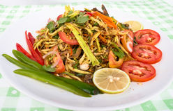 Thaifood. Or mango salad with seafood Stock Images