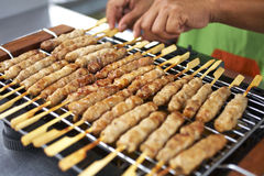Thaifood in morning. Many pork grill and hand Stock Photography