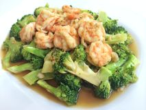 Thaifood. Shrimp broccoli vegetable sidedish Royalty Free Stock Photos