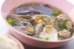 Thaifood from soup. Soup from pork and herb Stock Images