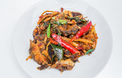 Thaifood. Spicy fish in a restaurant royalty free stock photo