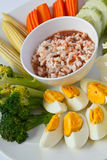 Thaifood , Spicy Shrimp Dip. Thai traditional food, Spicy shrimp dip served with boiled egg and vegetable Stock Photo