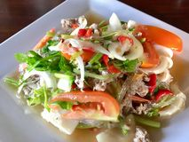 This is thaifoods mixed seafoods and vegetables delicious. Hot and spicy Royalty Free Stock Photography