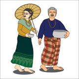 Thailändische ältere Paare in Songkran-Festival Stockbilder