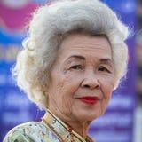 Thailändische alte Frau des Porträts Bangkok, Thailand Stockbilder