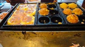 Thailändische Art rundes Omelett Stockfotografie
